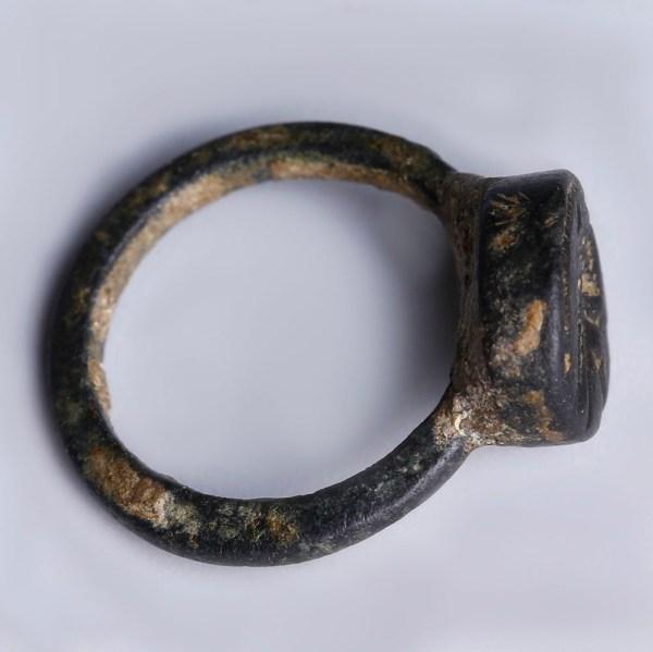 Roman Bronze Signet Finger Ring with Bird