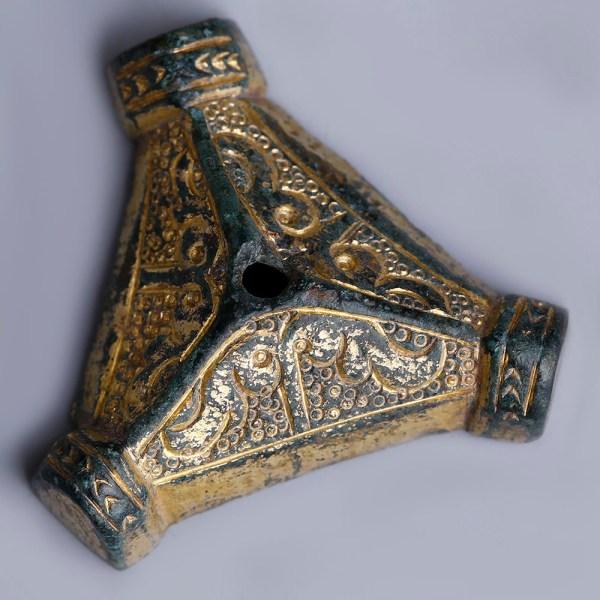 Anglo-Saxon Gilt Trefoil Dagger Pommel Cap