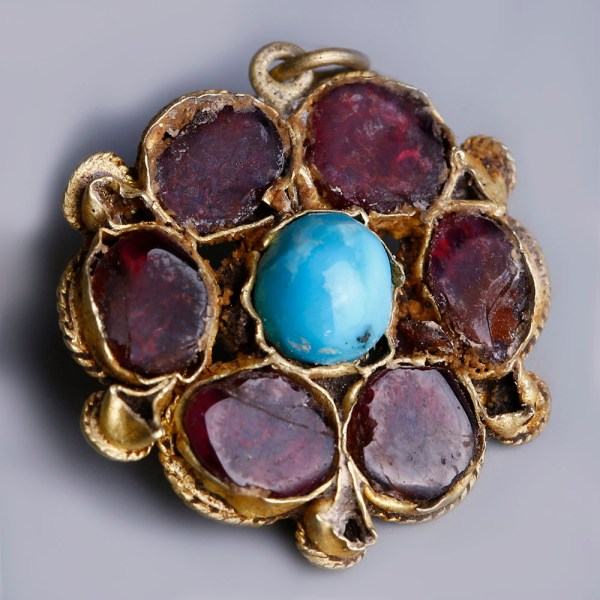 Byzantine Rosette Gold Pendant with Turquoise and Garnet