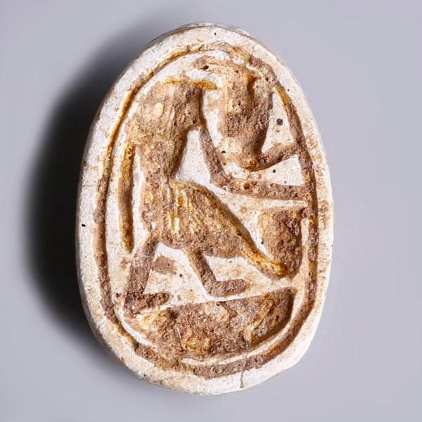 Egyptian Steatite Scarab with Horus