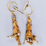 Greek Hellenistic Gold and Garnet Pendant Earrings