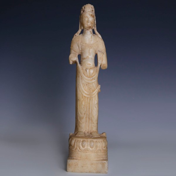 Superb Northern Qi Dynasty White Marble Figure of a Bodhisattva