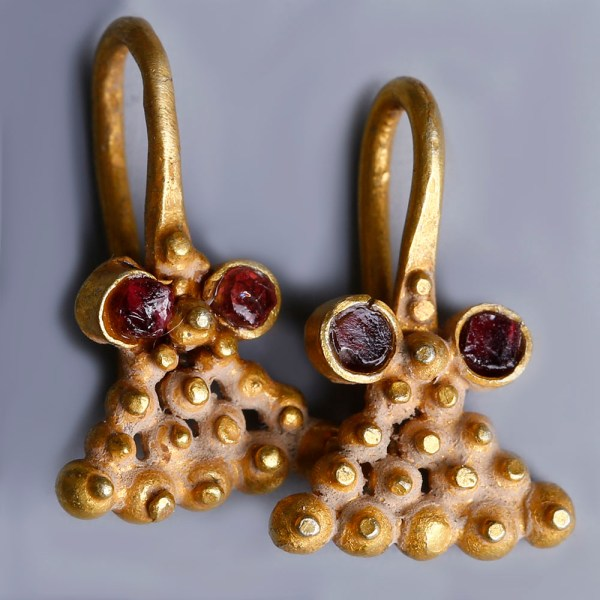 Pair of Western Asiatic Gold and Garnet Earrings