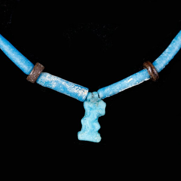 Egyptian Faience Necklace with Bes Amulet