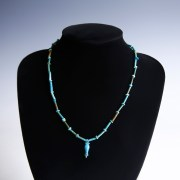 Egyptian Turquoise Faience Necklace with Poppy Seed Amulet