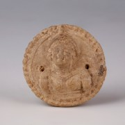 Greek- Hellenistic Medallion with Female Helmeted Bust
