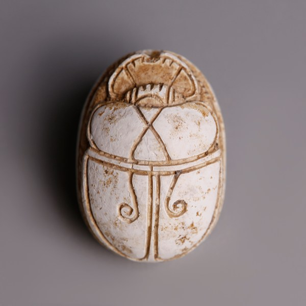 Egyptian Steatite Hyksos Scarab with Figure of a Man