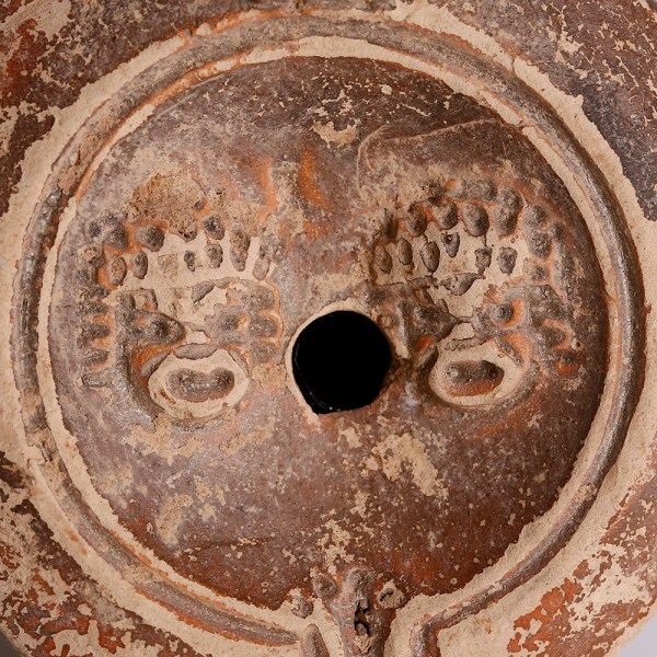 Roman Terracotta Oil Lamp with Makers Mark