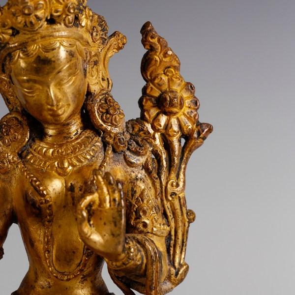 Tibetan Gilded Statuette of the Goddess Green-Tara