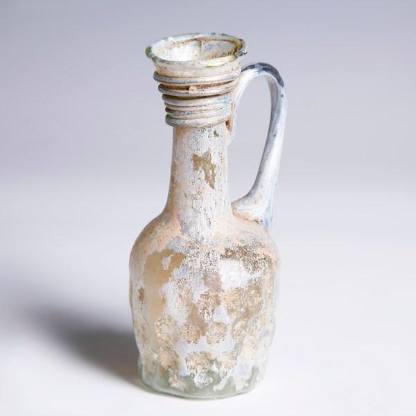 Ancient Roman Dimpled Glass Juglet