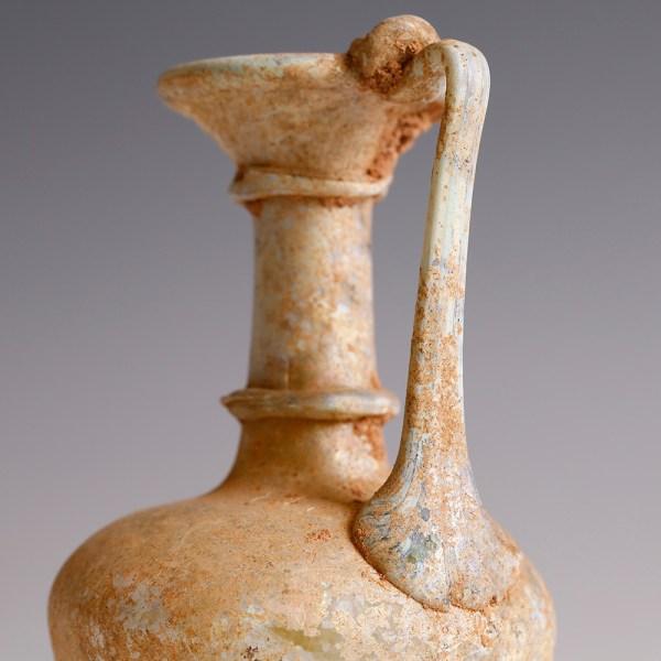 Ancient Roman Pale Yellow Glass Jug