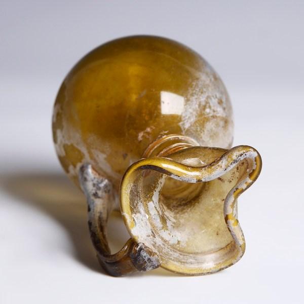 Ancient Roman Yellow Glass Jug with Trefoil Rim