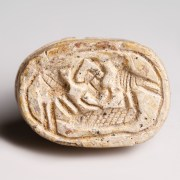 Egyptian Hyksos Period Scarab with Birds and Kheper