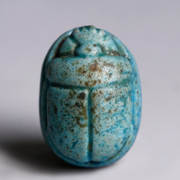 Egyptian Turquoise Glazed Steatite Scarab with Pharaonic Figure