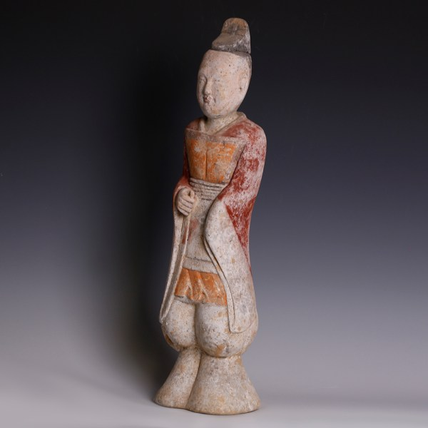 Large Han Polychrome Terracotta Figurine of a Male Court Attendant