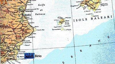 La posizione del naufragio del Sirio.