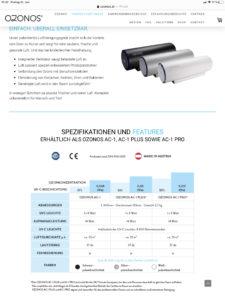 OZONOS AC-1 Technische Daten