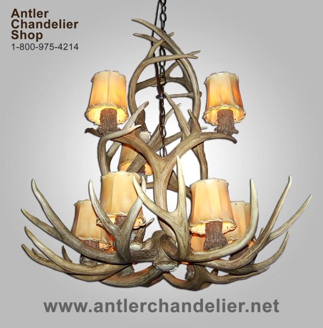 Real Antler Mule Deer 9 Light Chandelier Mdsp4m