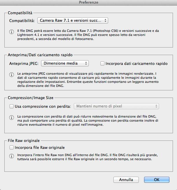 Adobe Digital Negative Converter – Preferenze