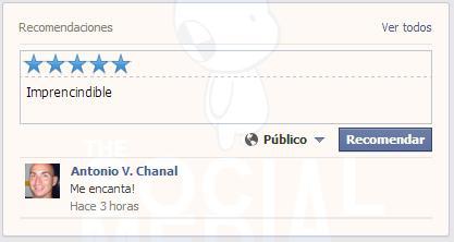 Facebook prueba las valoraciones de página con 'Recomendaciones' de usuario