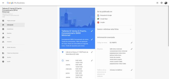 Ejemplo de ficha de cliente dada de alta en Google My Business