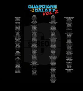 Stereo D Poster, Anton Schefter Credits for Movie Guardians of the Galaxy Volume 2