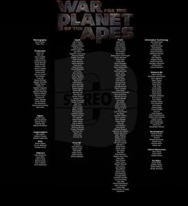 Stereo D Poster, Anton Schefter Credits for Movie War for the Planet of the Apes
