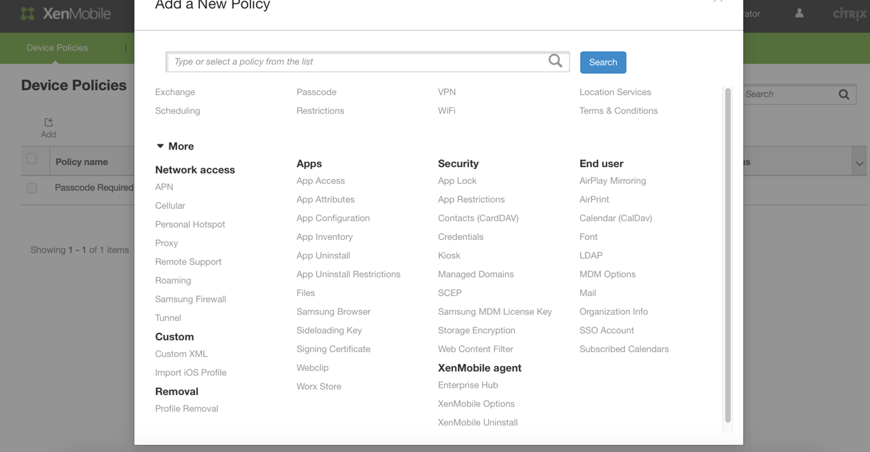 XenMobile 10 Device Policies