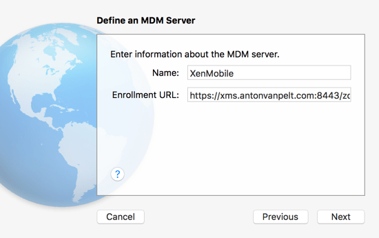 Define MDM Server Apple Configurator