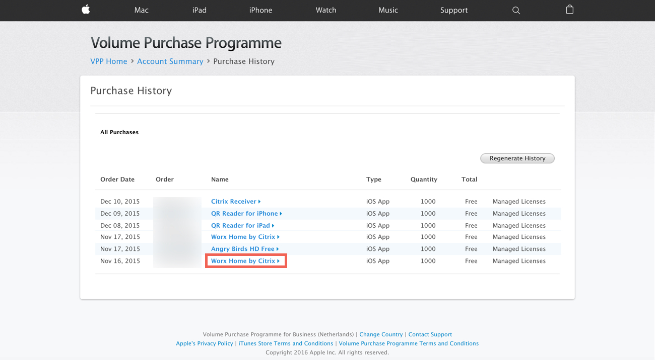 VPP Purchase Apps