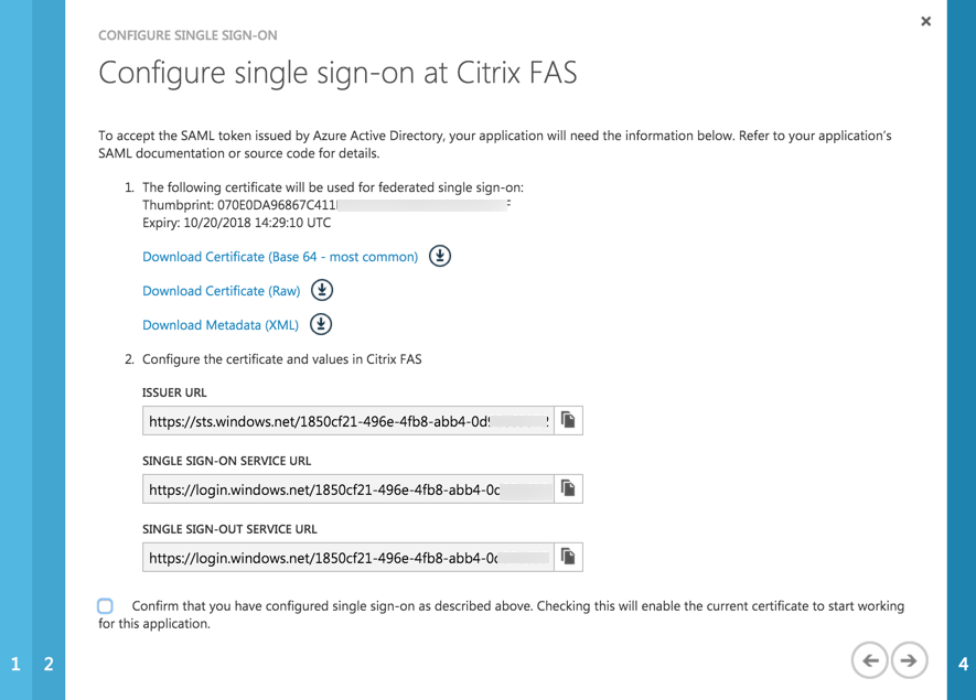 Azure AD - Citrix FAS - Single Sign-On details
