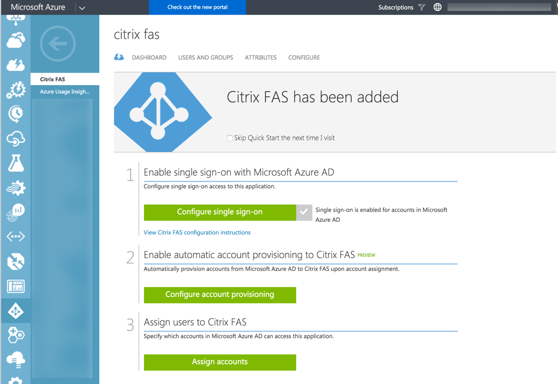 Azure AD - Citrix FAS - Assign Users