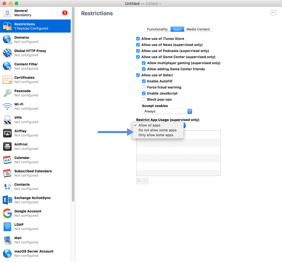 Apple Configurator - XenMobile - Restrict Apps