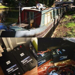 Installing the rocket stove on the boat