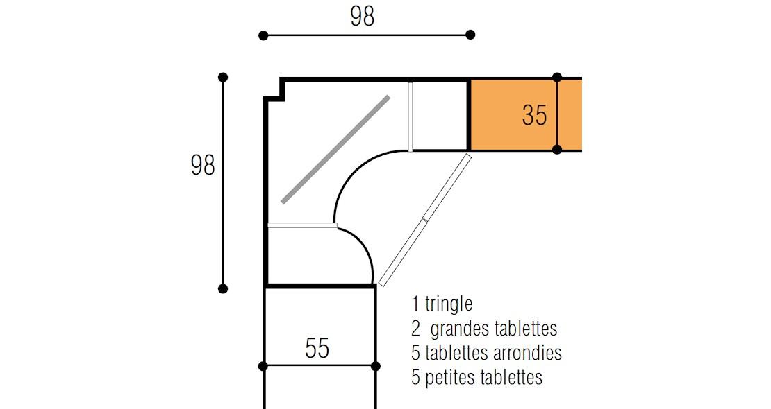 element rangement dressing en angle ketiam 2 portes prof 55 35