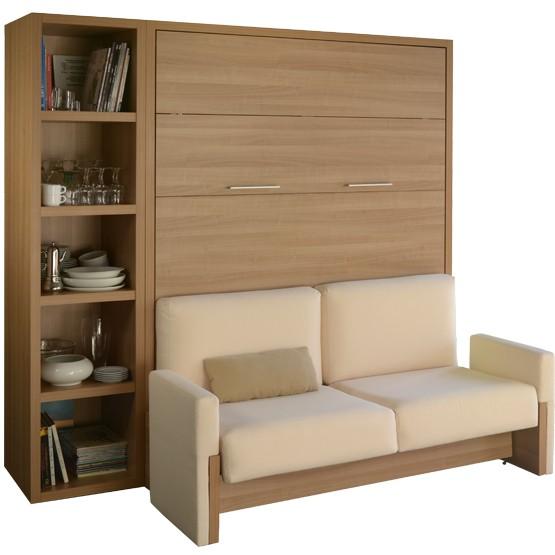 agencement bibliotheque et lit escamotable ketiam 140x200 avec canape et accoudoirs