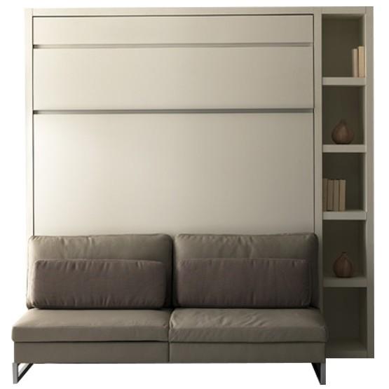 lit escamotable loft banquette couchage 160 x 200 et bibliotheque droite
