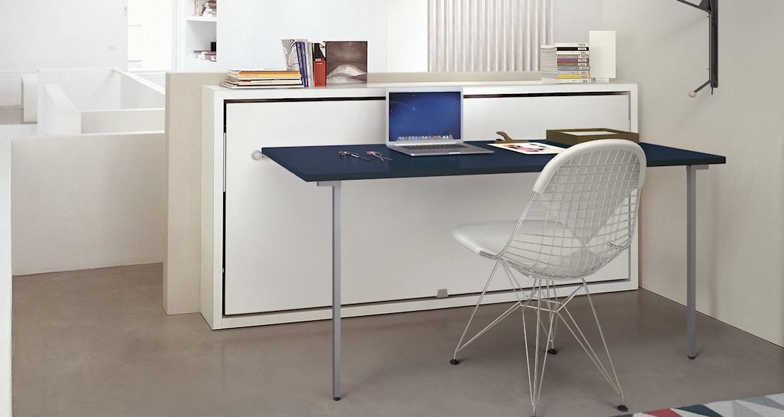 meuble lit escamotable avec bureau repliable et couchage 85x200