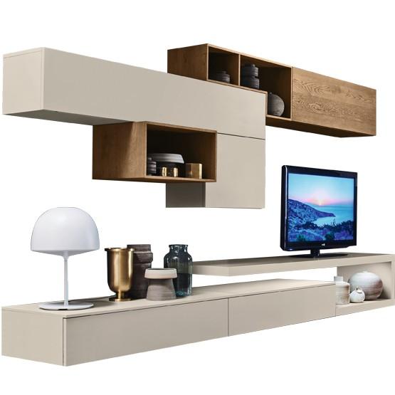 meuble tv original avec elements poses et suspendus