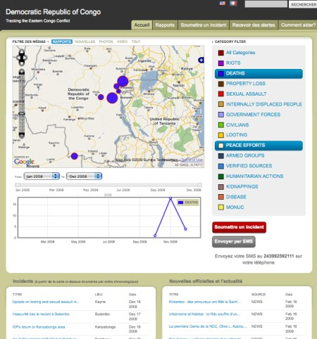 Image: An Ushahidi map of incidents in DRC Congo