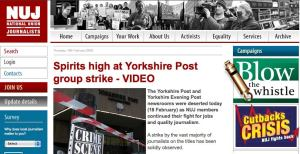 Image: The NUJ's website - inadvertently blowing the whistle on itself?