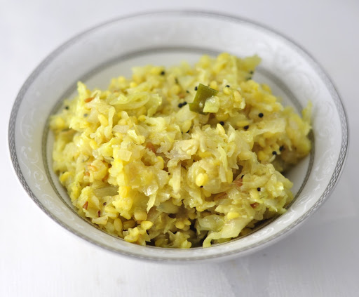 cabbage with moong dal