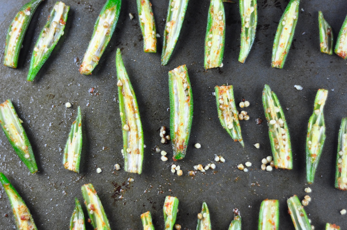 spicy oven roasted okra