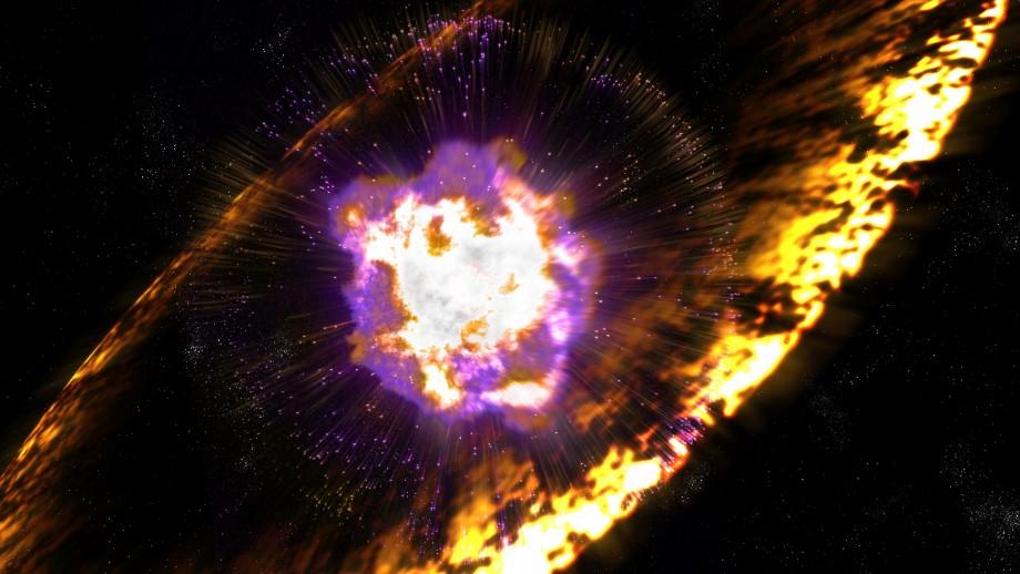 Ilustración de artista de una supernova. Crédito: Greg Stewart, SLAC National Accelerator Laboratory.