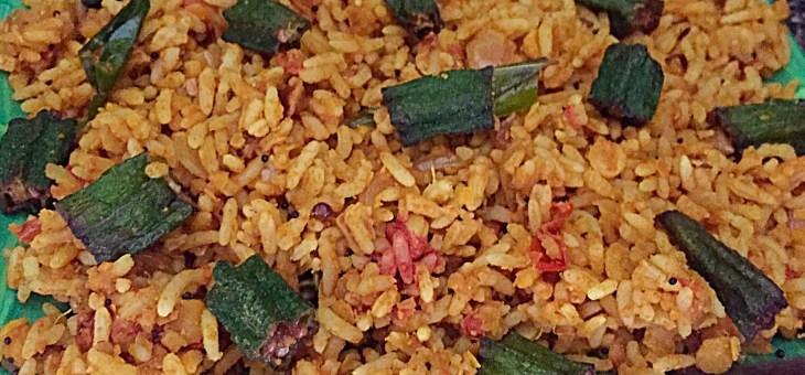 Crispy Okra Lentil Rice