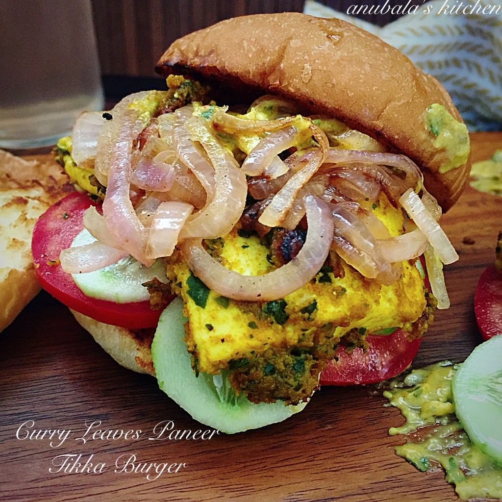Curry Leaves Paneer Tikka Burger