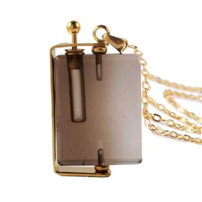 Aroma Bijou - Louis en Quartz Fumé collier plaqué or 24 carat