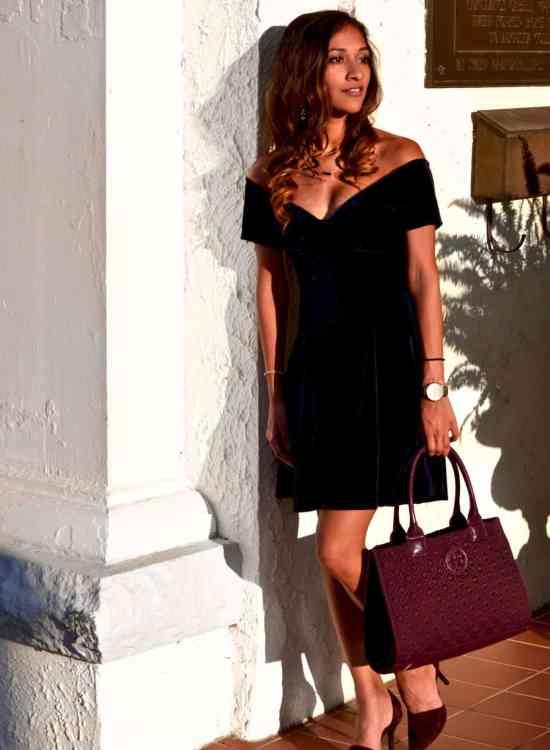 velvet off the shoulder dress