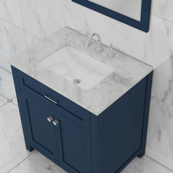 alya bath norwalk 30 inch bathroom vanity with marble top blue