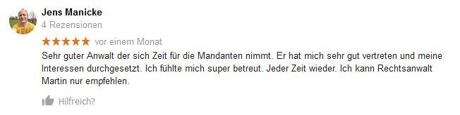 Googlebewertung von Jens Manicke